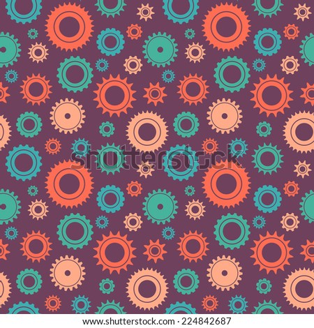 Seamless pattern vector gear and cogwheel background retro color  - stock vector