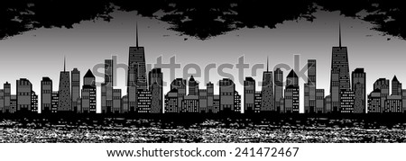 Seamless Pattern Vector Illustration of Cities Silhouette. EPS10 - stock vector