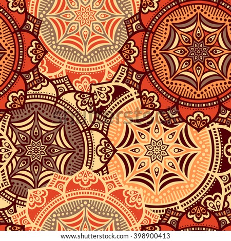 Seamless pattern. Vintage decorative elements. Hand drawn background. Islam, Arabic, Indian, ottoman motifs. Perfect for printing on fabric or paper - stock vector