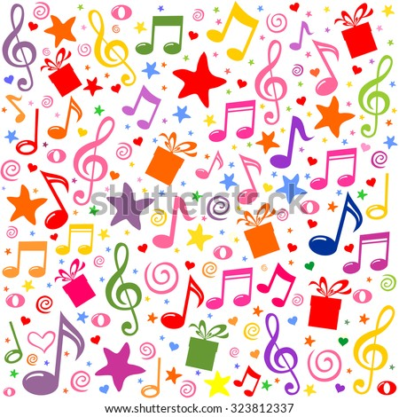 Seamless pattern wallpaper of musical notes, gift box, stars. Vector Illustration - stock vector