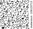seamless pattern wallpaper of musical notes. Vector Illustration - stock vector