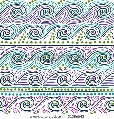 seamless pattern - water waves on white background - stock vector