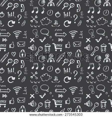 Seamless pattern  Web icons painted on a black background in the style of chalks. - stock vector