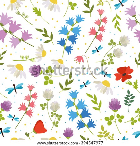 seamless pattern. wildflowers - bell, poppy, chamomile, clover. summer, spring greens. simple logo for a flower shop. on white background - stock vector