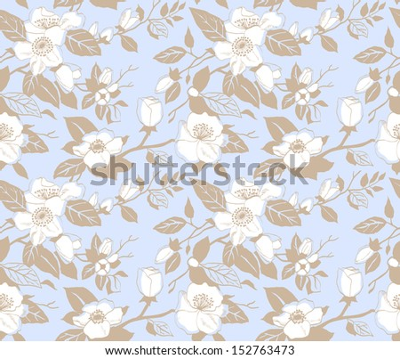 Seamless pattern with a branch of apple blossoms on a blue background - stock vector