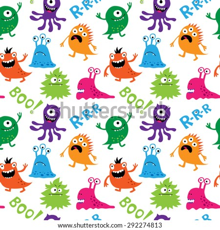 Seamless pattern with a cute monsters and inscriptions - stock vector