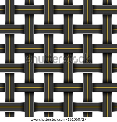 Seamless pattern with a grid of crossing highways - stock vector
