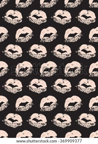 Seamless pattern with a lipstick kiss prints for wrapping, wallpaper, textile, invitation, wedding cards. - stock vector