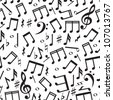 Seamless pattern with a music notes - stock vector