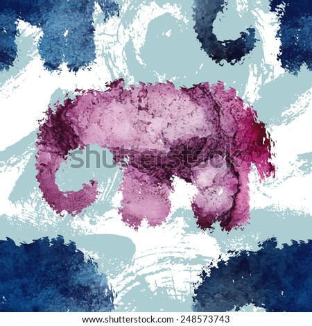 Seamless pattern with a watercolor elephants. Beautiful stain and texture of a paper. Unusual pattern for your design, for web, packaging and textile. - stock vector