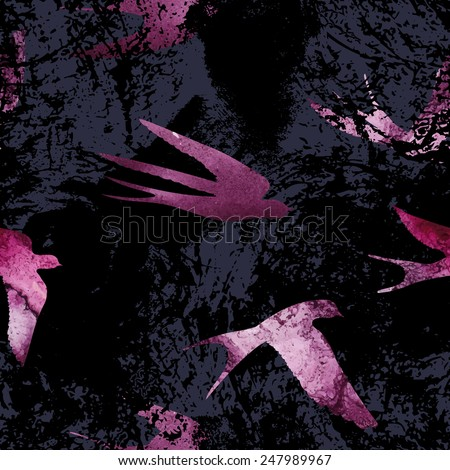 Seamless pattern with a watercolor swallows and ink blots. Beautiful stain and texture of a paper. Retro pattern for your design, for web, packaging and textile. - stock vector