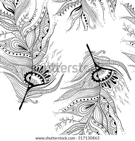 Seamless pattern with abstract feather - stock vector