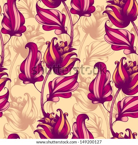 Seamless pattern with abstract flowers - stock vector