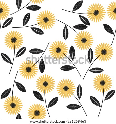 Seamless pattern with abstract flowers on white background.Vector template can be used for design fabric,linens, wallpaper, greeting cards. - stock vector
