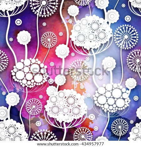 Seamless pattern with abstract  flowers. Vector 3D floral illustration.EPS10. - stock vector