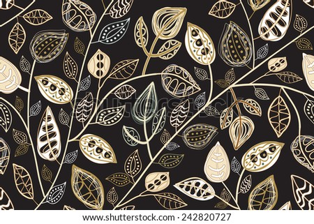 Seamless pattern  with abstract leaves - stock vector