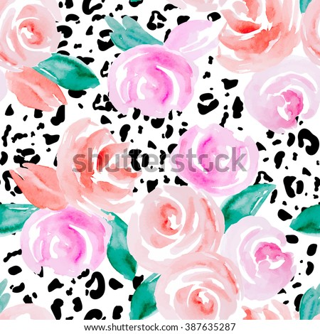 Seamless pattern with abstract watercolor flowers. Pink roses on a white background and spots on a leopard skin. - stock vector