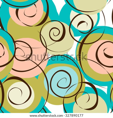 Seamless pattern with abstract with swirls and colored stains; vector illustration. - stock vector