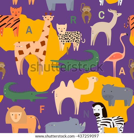 Seamless pattern with African animals in flat geometric style. Vector Illustration - stock vector