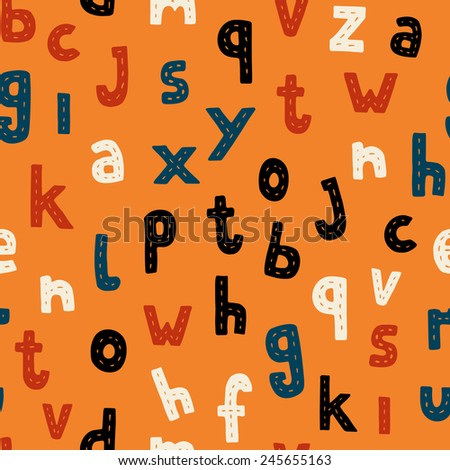 Seamless pattern with alphabet letters, modern flat style, vector. - stock vector