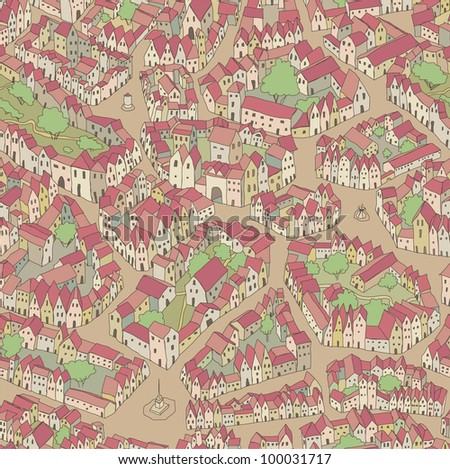 Seamless pattern with an old town - stock vector