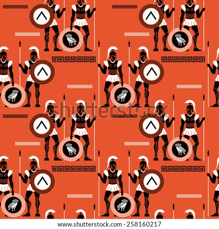 Seamless pattern with ancient Greek warriors - stock vector