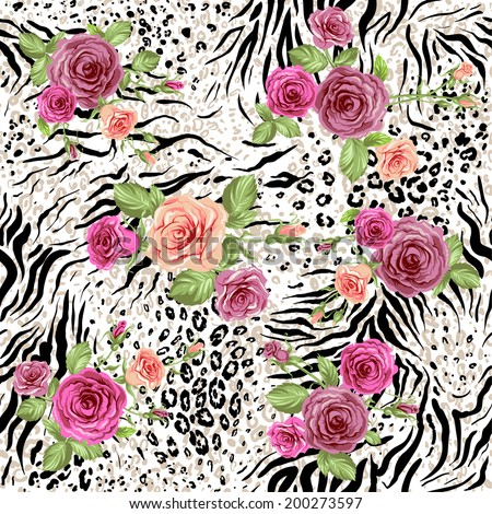 Seamless pattern with animal prints and decorative roses - stock vector