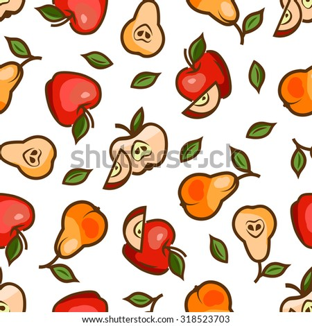 Seamless pattern with apples for your design. Vector illustration. - stock vector