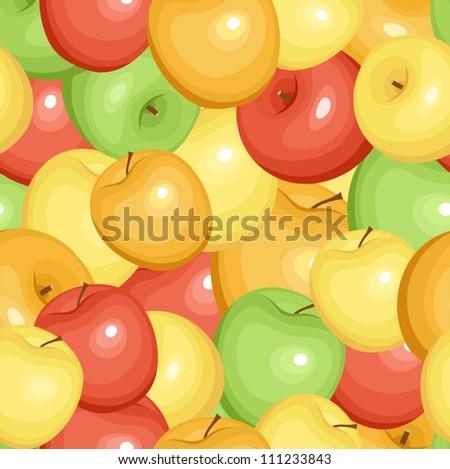 Seamless pattern with apples. Vector EPS 8. - stock vector