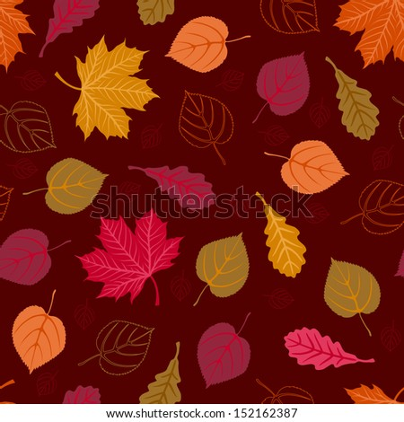 Seamless pattern with autumn leaves. Vector illustration. - stock vector