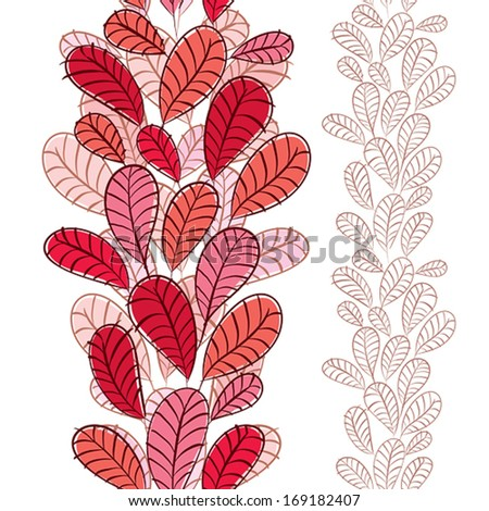 Seamless pattern with autumn leaves, vertical composition, hand drawn, vector. - stock vector
