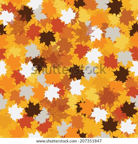 Seamless Pattern with Autumn Maple Leaves - stock vector