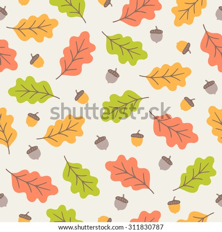 Seamless pattern with autumn oak leaves and acorns. Perfect for wallpaper, wrapping paper, autumn greeting cards, pattern fills, web page background, textile - stock vector