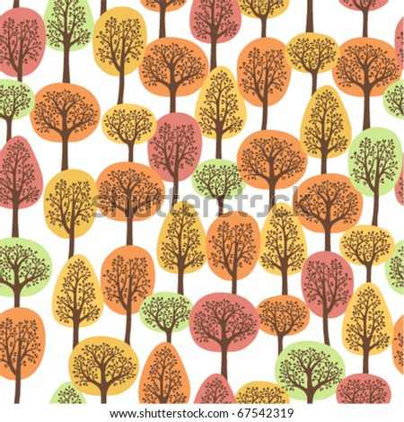 seamless pattern with autumn trees - stock vector