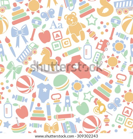 seamless pattern with baby icons. isolated on white - stock vector