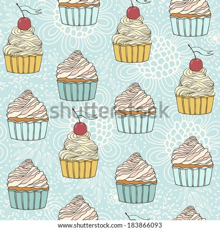 seamless pattern with beautiful cup cakes. - stock vector