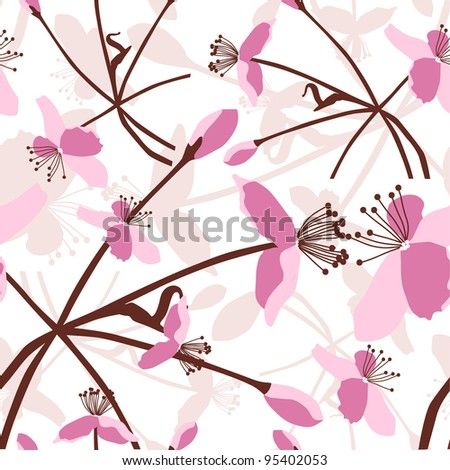 seamless pattern with beautiful pink flowers - stock vector