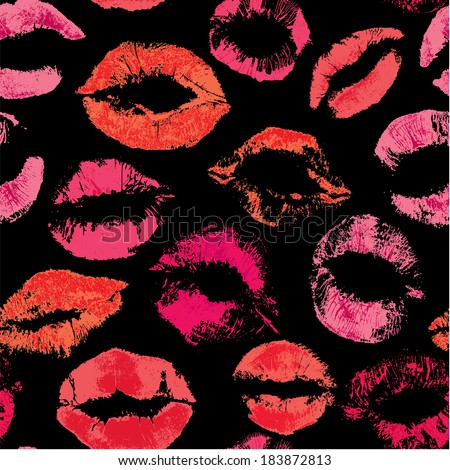 Seamless pattern with beautiful red and pink lips prints on black background  - stock vector