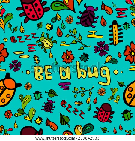Seamless pattern with beetle and flowers. - stock vector
