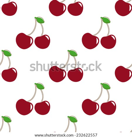 Seamless pattern with  berry cherry. Endless repeating print background texture. Fabric design. Vector pattern - stock vector