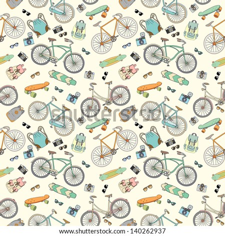 Seamless pattern with bicycles, boards and accessories 2 - stock vector