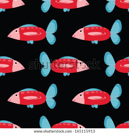 seamless pattern with big red fish - stock vector