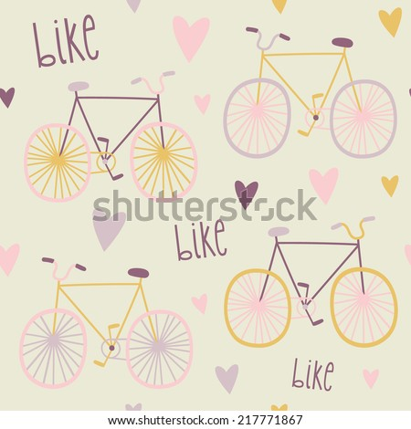 Seamless pattern with bikes and hearts. Cute bicycles background - stock vector