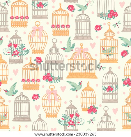Seamless pattern with birdcages, flowers and birds. - stock vector