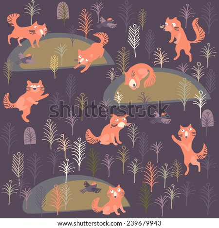 seamless pattern with birds and animals - stock vector