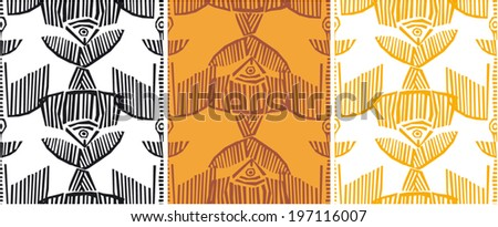 Seamless pattern with birds and fishes - stock vector