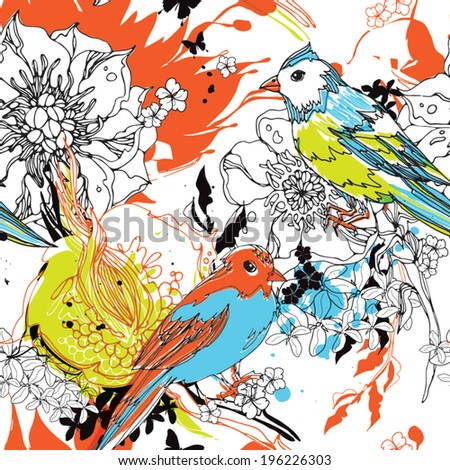 Seamless pattern with birds and flowers eps10 - stock vector