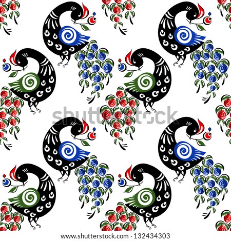 Seamless pattern with birds in the Russian traditional style (Gorodets). - stock vector