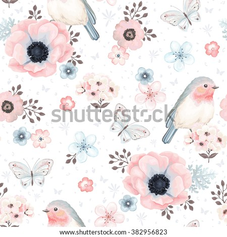Seamless pattern with birds Robin, butterflies, anemones and small flowers in vintage watercolor style, vector illustration. - stock vector