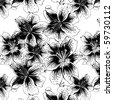 seamless pattern with black and white lily - stock vector